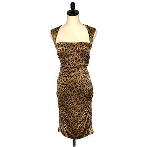 Nicole Miller Digital Cheetah Silk Dress SZ 4